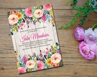 Floral Bridal Shower Invitation, Wedding Shower Invitation, Floral Invitation, Rustic Ivitation, Engagement Party - Isla