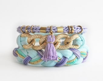Mint and lilac bracelet stack, boho set of bracelets, mint arm candy, chain stacking bracelets with tassel and chunky chain