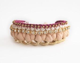 Boho bracelet, woven chain bracelet, chunky chain bracelet with rhinestones, jersey bracelet, statement bracelet