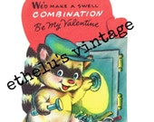 vintage Valentine DIGITAL DOWNLOAD • raccoon with safe • 1950's Valentine • JPEG digital download