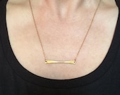 Raw brass twist bar necklace