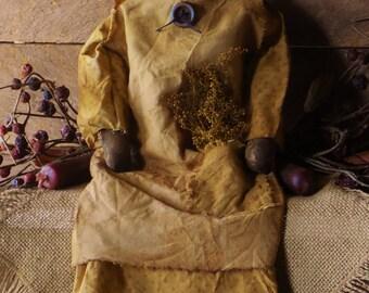Primitive Grungy Black Folk Art Doll
