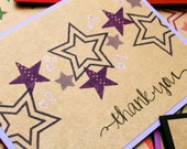 Star Thank You Cards, Graduation, Monochromatic, Handmade Thank You Card Set, Set of 8