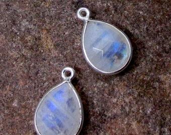 Moonstone Sterling Silver Bezel Tear Drop Pendants ~ 2 pieces