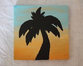 Palm Tree Silhouette Sunset 4 by 4 Canvas Painting