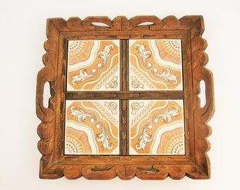 A Wood and Ceramic Tile Tray - Southwestern Motif Tray -  Kitchen - Cafes - Picnics - Parties - Gift Idea - Carry Stuff