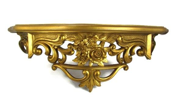 Gold Hollywood Regency Wall Shelf Vintage Dart