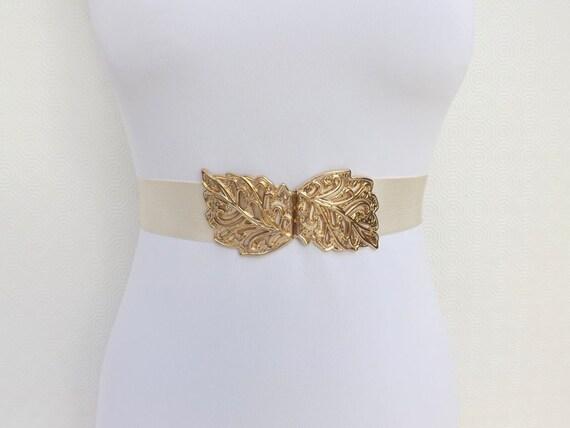 Ivory Elastic Waist Belt. Gold Filigree Leaf Buckle. Wide Dress Belt. Bridal/ Bridesmaid Wedding Belt.