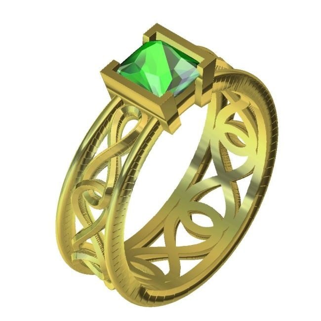 gold celtic emerald princess cut ring with by celticeternity