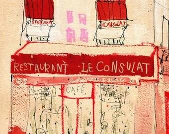 PARIS LE CONSULAT, Montmartre Art, Red Paris Cafe Print, French Watercolour Painting, Paris Restaurant, Parisian Home Decor, Paris Building