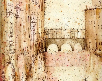 FLORENCE PRINT, Ponte Vecchio Italy Watercolor, Firenze Print, Florence Bridge Art, Limited Edition Print, Tuscany Painting, City Wall Art