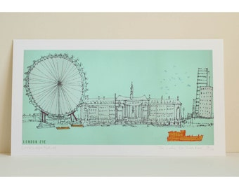 LONDON EYE ART South Bank Print Signed Limited Edition Giclee print, Flat Graphic Colour Blue, Clare Caulfield, Boats on River Thames
