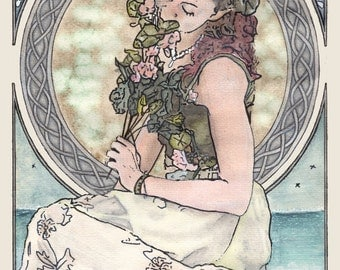 Print reproduction of an original Art Nouveau celtic painting, mixed media, Cliodhna by Tuulia Tamminen - Size A3
