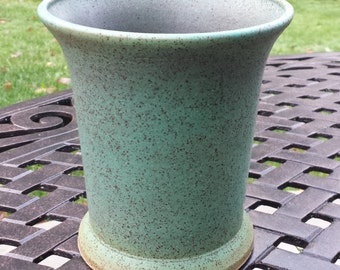 Utensil Crock / Vase / Wine Chiller | Speckled Stoneware Ceramic Pottery | Sprayed Green Patina Glaze - Aged Look Shabby Chic Kitchen Decor
