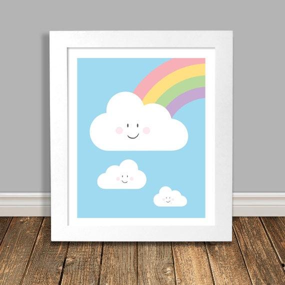 Colorful Nursery: Kids Room Art Nursery Clouds Colorful Nursery By