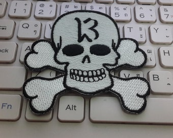 Skull and Crossbones Applique Embroidered Iron on Patch