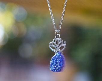 Druzy Necklace. Druzy Lotus Flower. Pineapple necklace