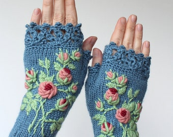 Knitted Fingerless Gloves, Blue, Roses, Clothing And Accessories, Gloves & Mittens, Gift Ideas, For Her, Accessories