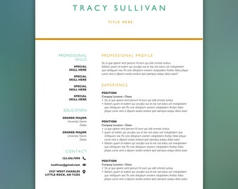 Resume Template Instant Download | Professional Curriculum Vitae, Creative Resume, Instant Resume, Business Resume SULLIVAN