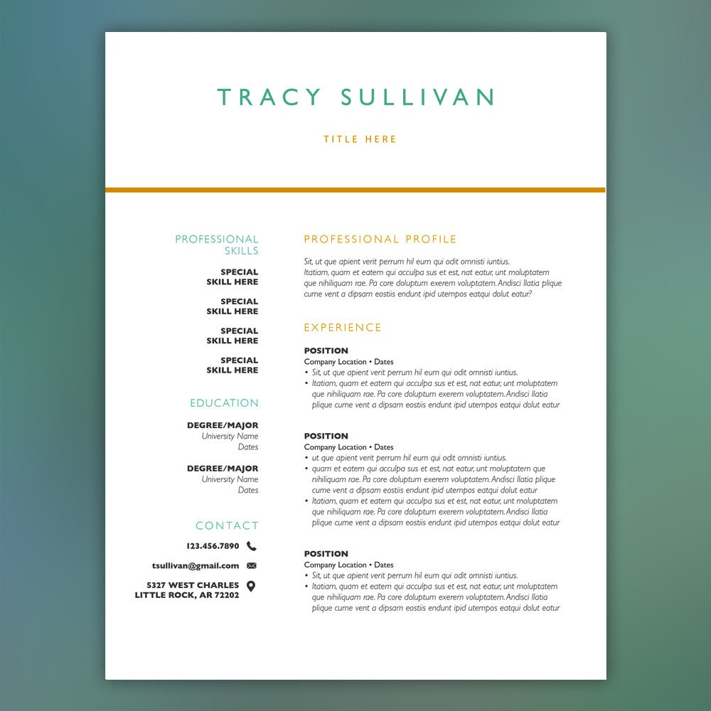 resume template instant professional curriculum