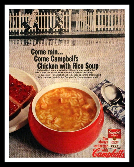 campbell s country kitchen 1967 campbells chicken amp rice soup ad in wall 1967