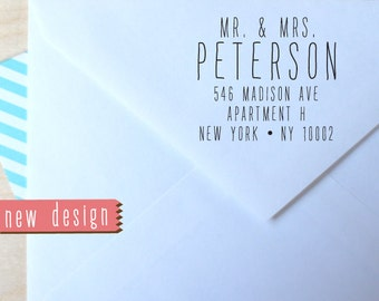 Mr & Mrs CUSTOM pre inked address STAMP from USA, eco-friendly custom address stamp, pre inked custom rsvp address stamper with proof d5-40