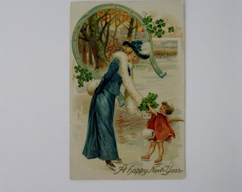 Vintage Post Card - A Happy New Year - Used - 1910s