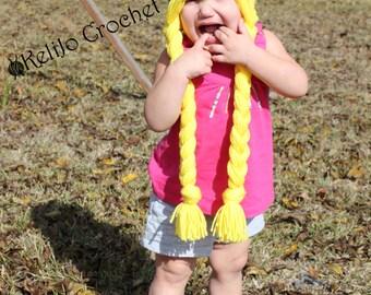 Princess Hat, Crochet Princess Hat, Princess Crown, Blonde Crochet Wig, Princess Crowned Hat, Play Hat, Crocheted Pigtails, Pigtail Princess