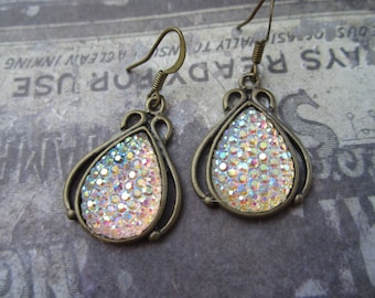 Iridescent Tear drops ,Brass Earrings