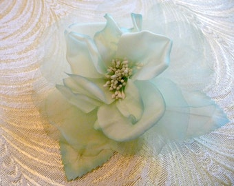 Silk Rose Pale Aqua Mint Millinery Flower for Hats Fascinators Gowns Hair Clips Corsage 1FN0003AQ