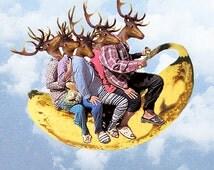 Deers on banana - Coco de Paris, deer print, banana print, deer illustration, banana illustration, deer painting, banana painting, deer art