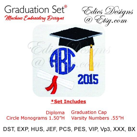 Graduation designs machine embroidery circle monograms bx