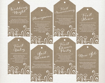 PRINTED, Milestone Wine Tags, Wine Poem Tags, Bridal Shower Gift Tags, Year of Firsts Wine Tags, Rustic Burlap