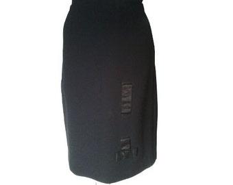 Vintage 1950 50s black wool pencil skirt pin up cute silk ribbon detail S