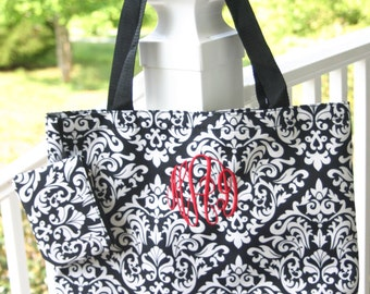 Monogrammed Damask Tote Bag Floral  Personalized Gift