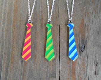 Necktie Necklace Striped Tie Necklace Geek Gifts Nerdy Jewelry Teacher Gift Pendant Necklace Christmas Gifts Under 15 Dollars Gifts for Her