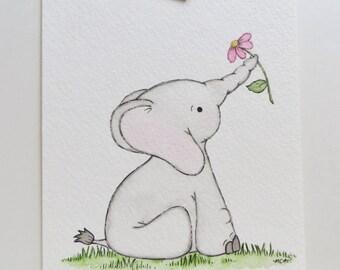 My Sweetie, nursery elephant, watercolor painting, nursery art, original painting, elephant painting, childrens art, kids wall decor