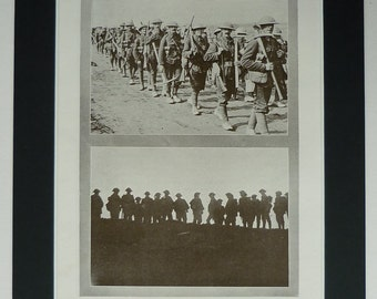 1919 Antique World War One Print, WWI Decor, Available Framed, Canadian Art, Military Canada Army Soldiers, First World War, Dawn Silhouette
