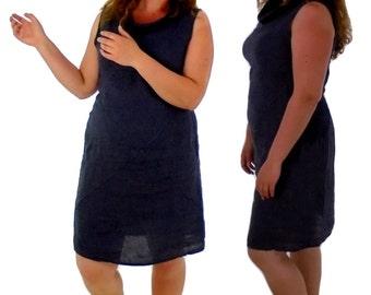 FY400 Damen Kleid mit Taschen Leinen Vintage Gr. M/L blau