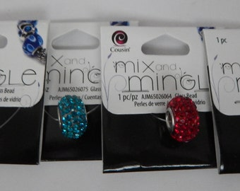 "Mix and Mingle ""Sparkle"" Glass Beads - Blue, Red, Turquoise, and Green - Buy 2 get a 3rd One FREE"
