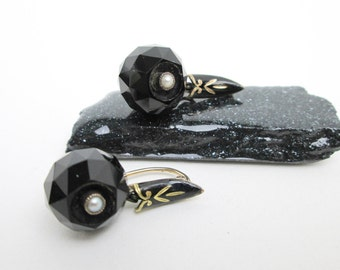1870s Victorian 14K Black Onyx Earrings w. Enamel & Seed Pearls, Authentic, Rose Gold, USA.