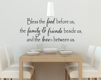 Bless The Food Before Us Wall Decal   Kitchen Vinyl Decal   Bless Our  Family Decal