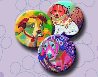 FUNKY DOGS -  Digital Collage Sheet 1 &1.5 inch round images for bottle caps, pendants, round bezels, etc. Instant Download #216.