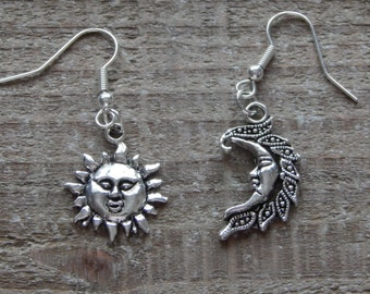 Sun And Moon Earrings, Mismatched Earrings, Celestial Earrings For Pierced Ears Silver Sun And Moon Earrings, Dangle Earrings Drop Earrings