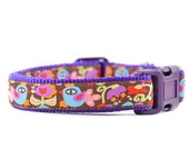 Purple Birds Dog Collar - Adjustable Abstract Pink and Brown Funky Psychedelic Dog Collar