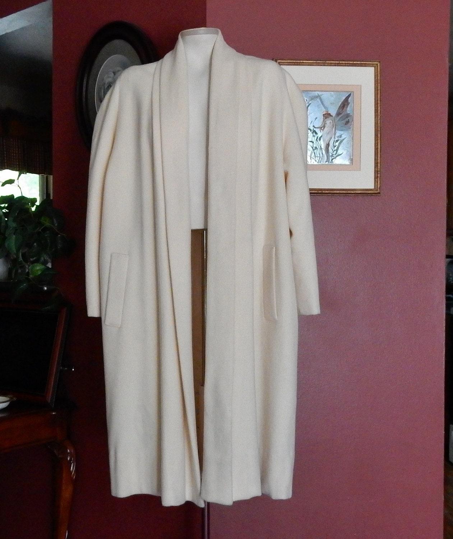 Plus Size Swing Coat Ivory White Wool 50s 60s Vintage Sue