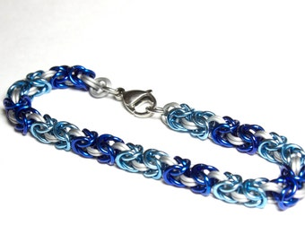 Byzantine Chainmaille Bracelet   Hand Crafted Chainmaille Jewelry   Handmade Bracelet   Blue, Light Blue, and White   Anodized Aluminum