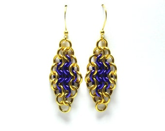 Purple and Gold Anodized Aluminum Chainmaille Earrings