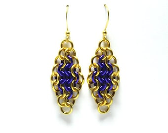 Chainmaille Earrings | Hand Crafted Chainmaille Jewelry | Handmade Earrings | Purple and Gold | Anodized Aluminum