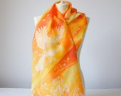 long silk scarf - Dandelions & Birds - summer scarves - dandelion scarf hand painted - orange silk scarf - yellow scarf - birds scarf
